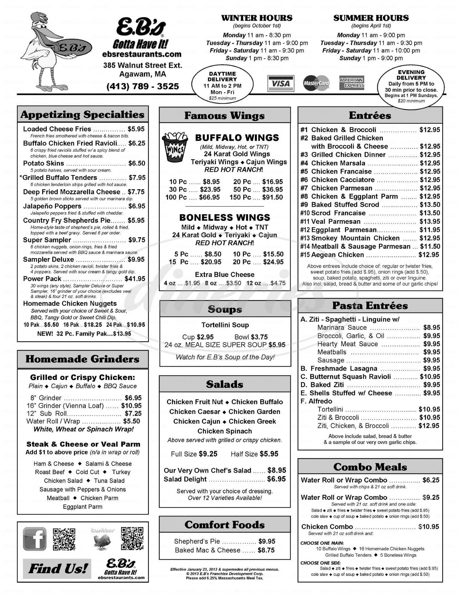 menu for E B's Speciality Chicken Restaurant