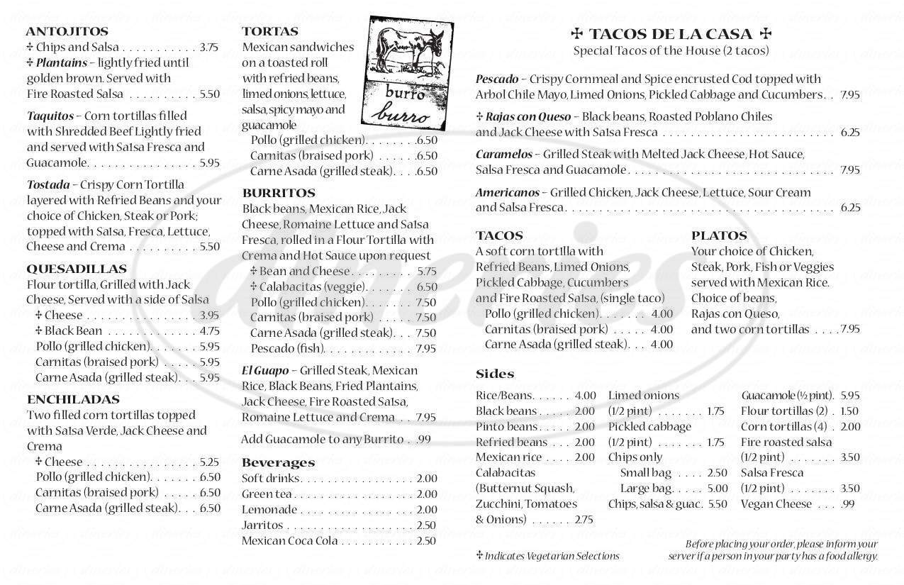 Big menu for El Pelón Taquería, Boston