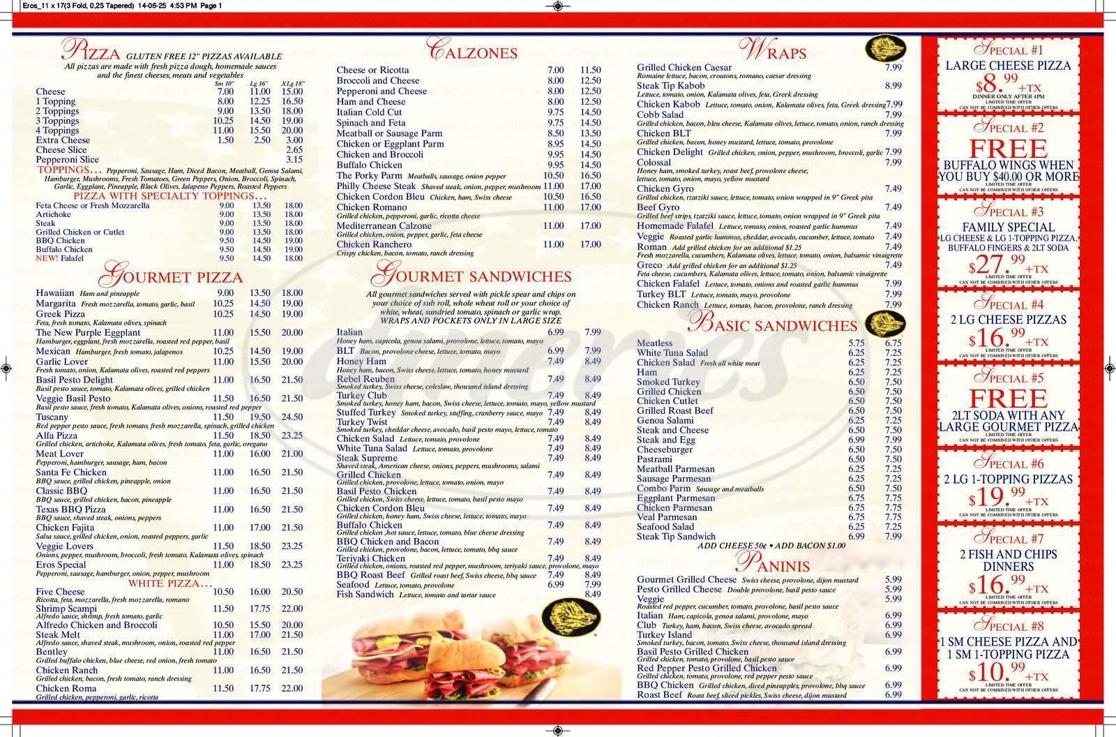 menu for Eros Gourmet Pizza & Deli