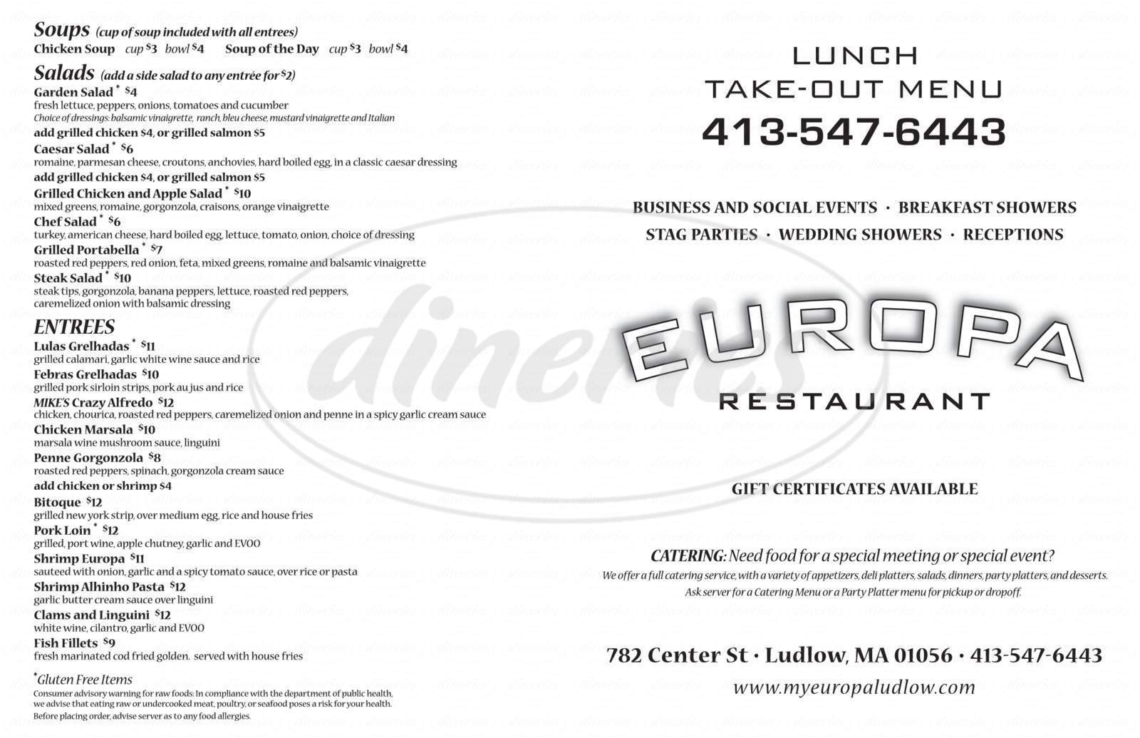 menu for Europa Restaurant