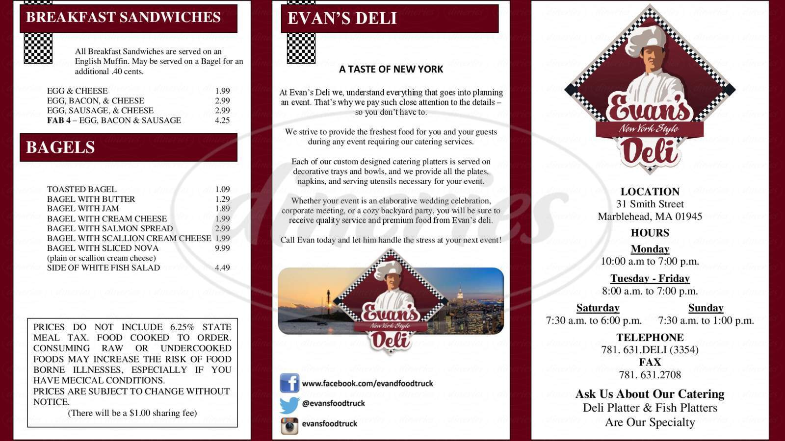 menu for Evan's Deli