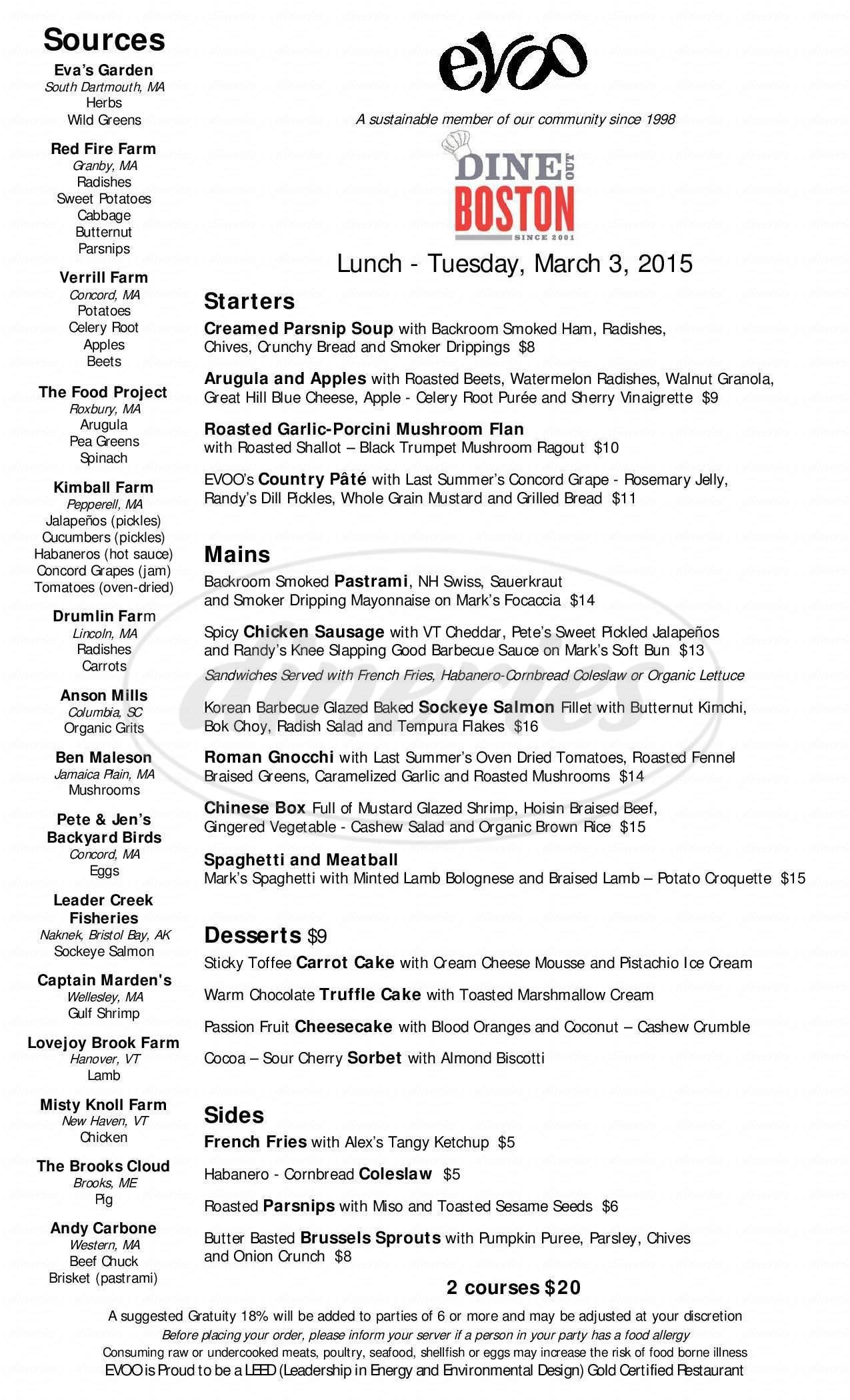 menu for Evoo Restaurant