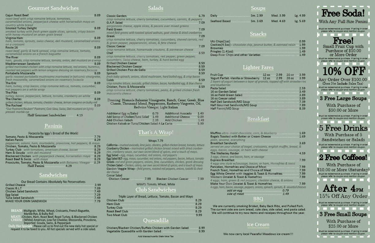 menu for Express Gourmet
