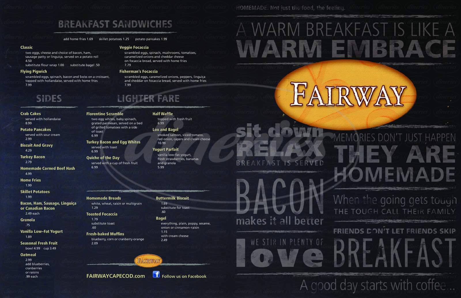 menu for Fairway Restaurant & Pizzeria