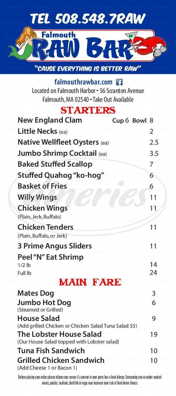 menu for Falmouth Raw Bar