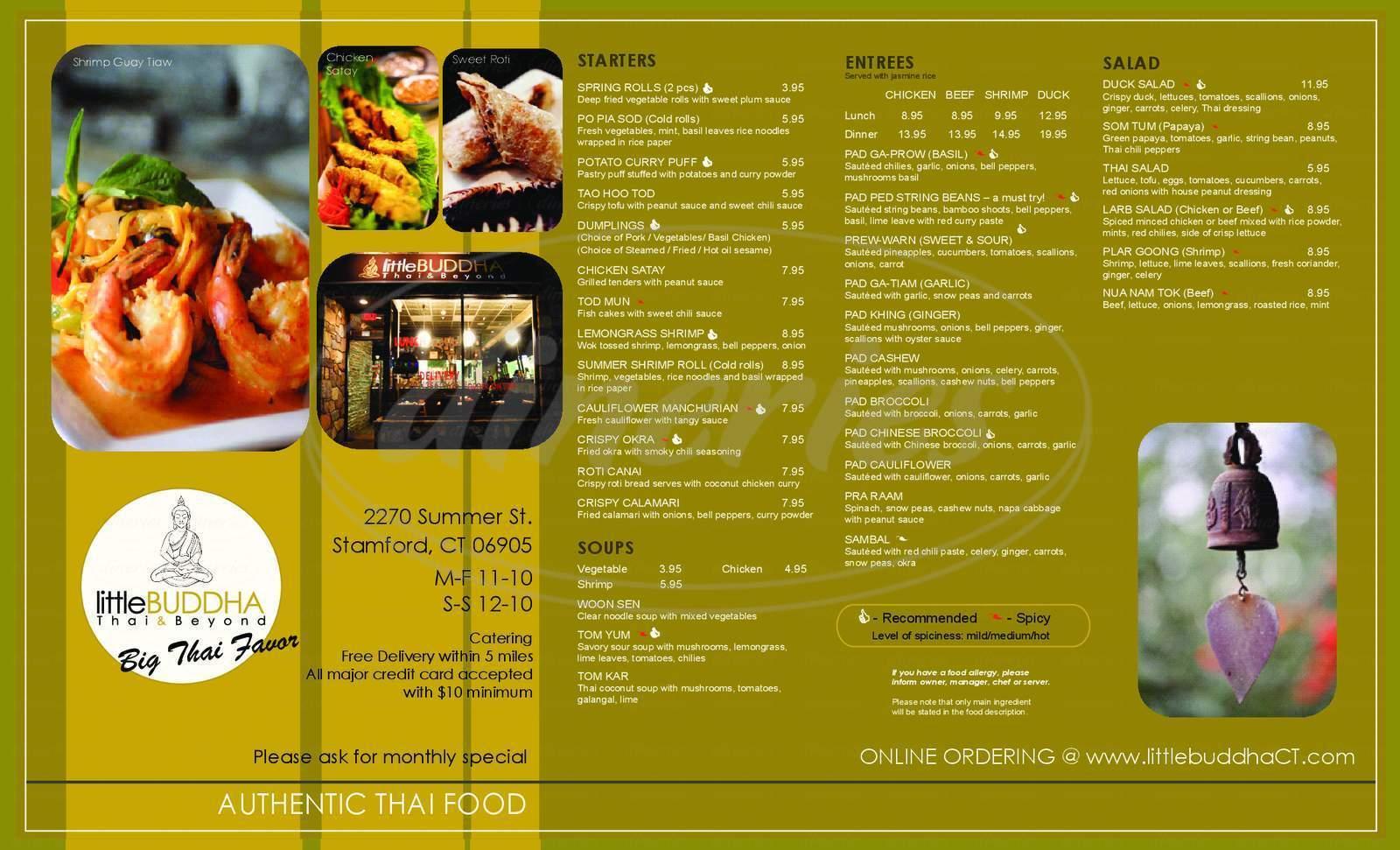 menu for Little Buddha