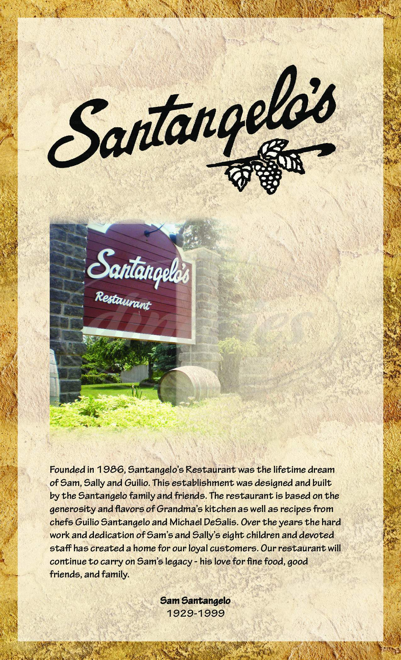 menu for Santangelos Restaurant