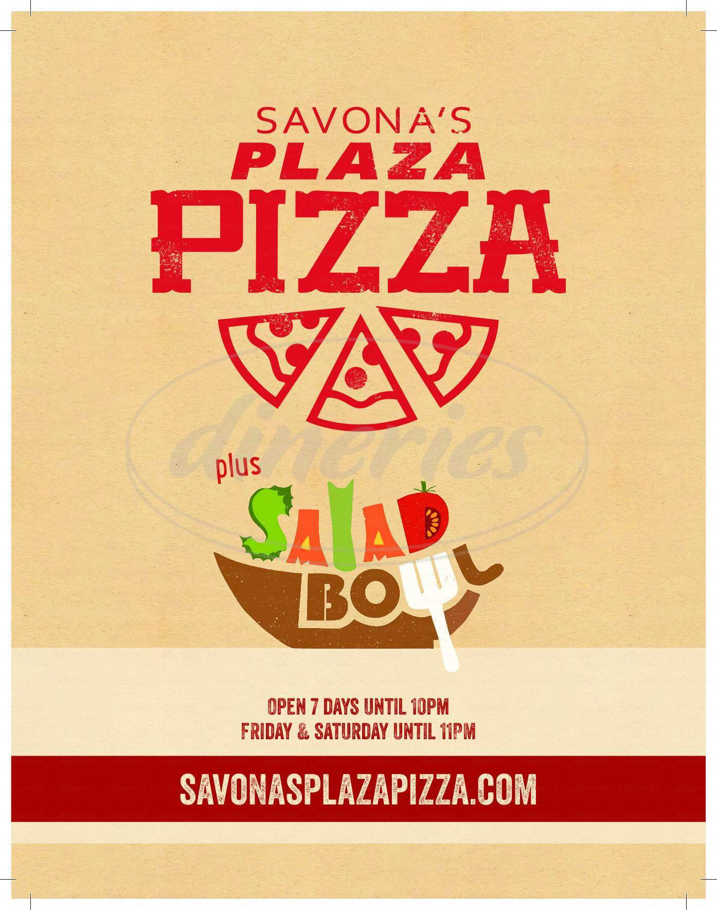 menu for Savona's Plaza Pizza