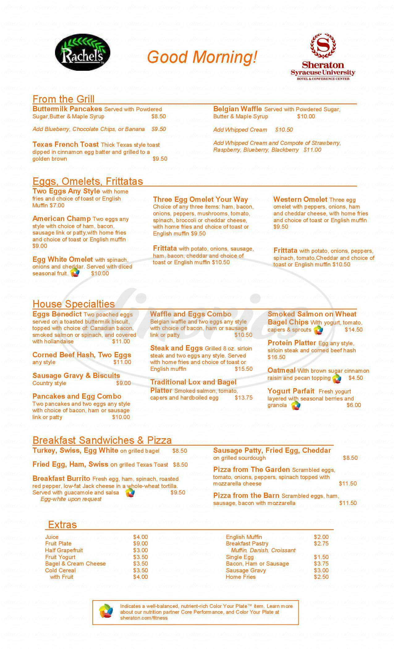menu for Sheraton Syracuse University Hotel & Conference Center