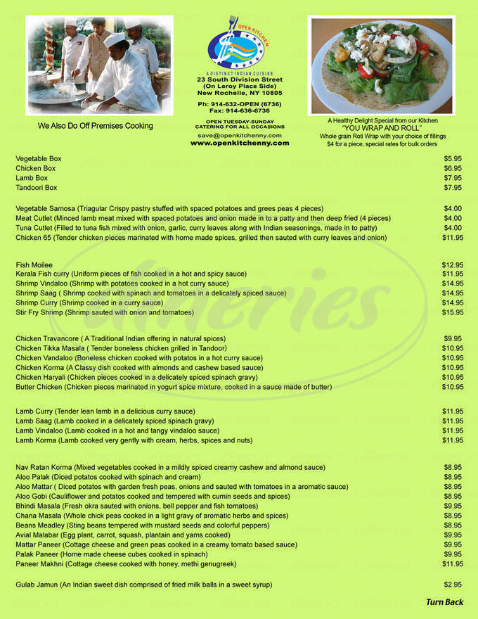 menu for Shirleys Caters