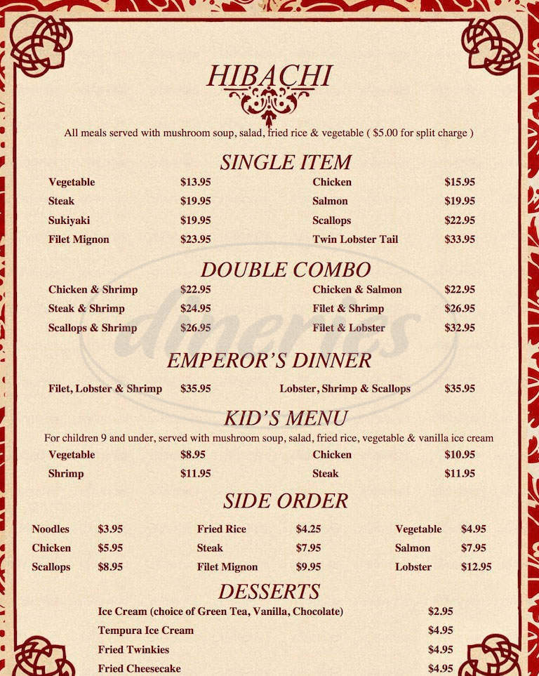 menu for Shogun Palace