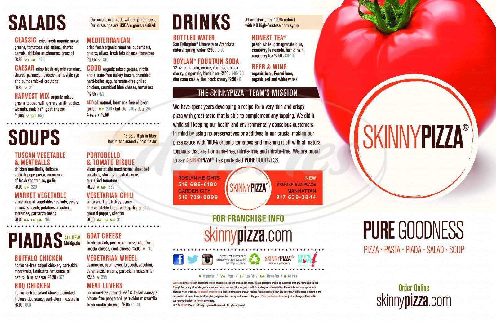 menu for Skinny Pizza