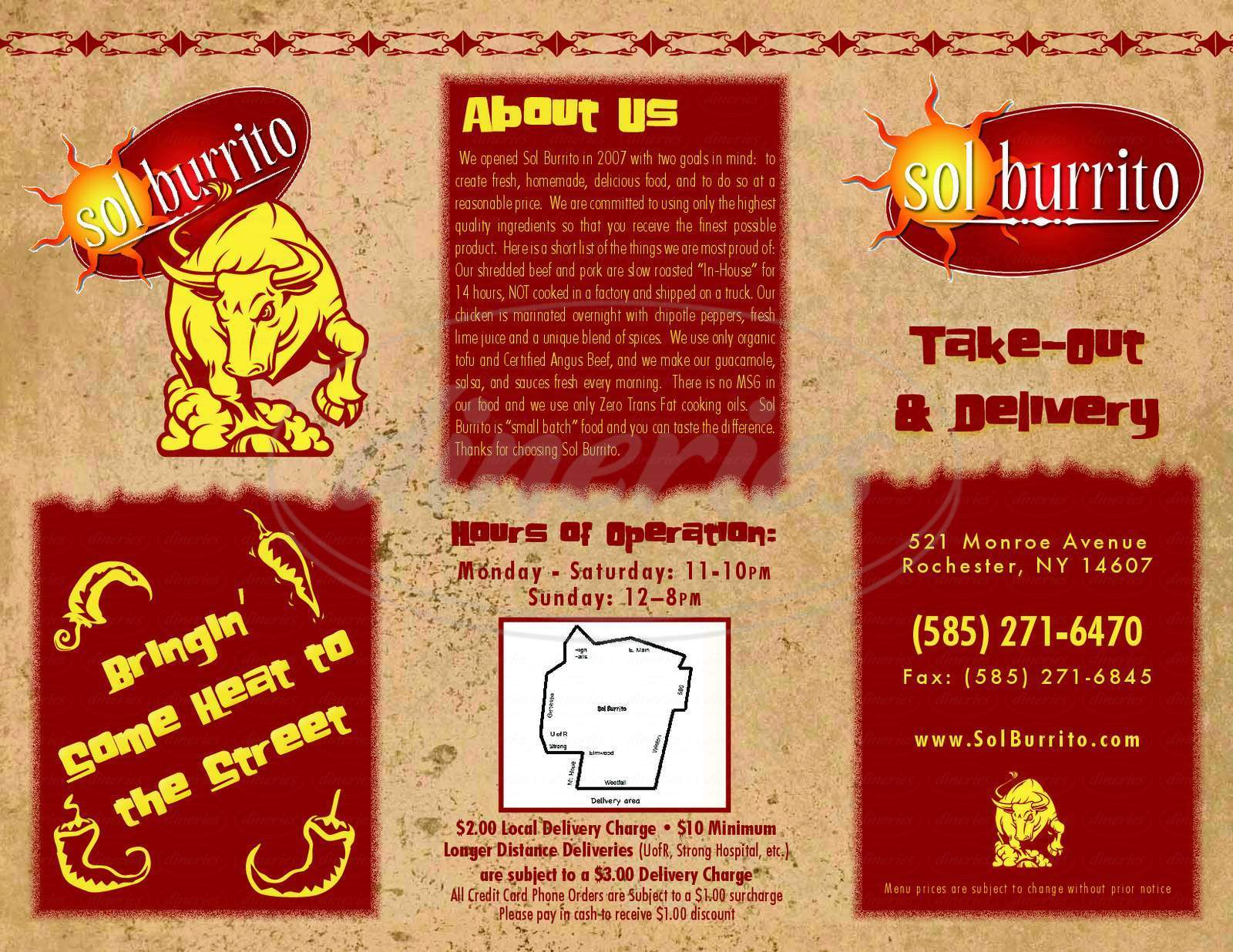 menu for Sol Burrito