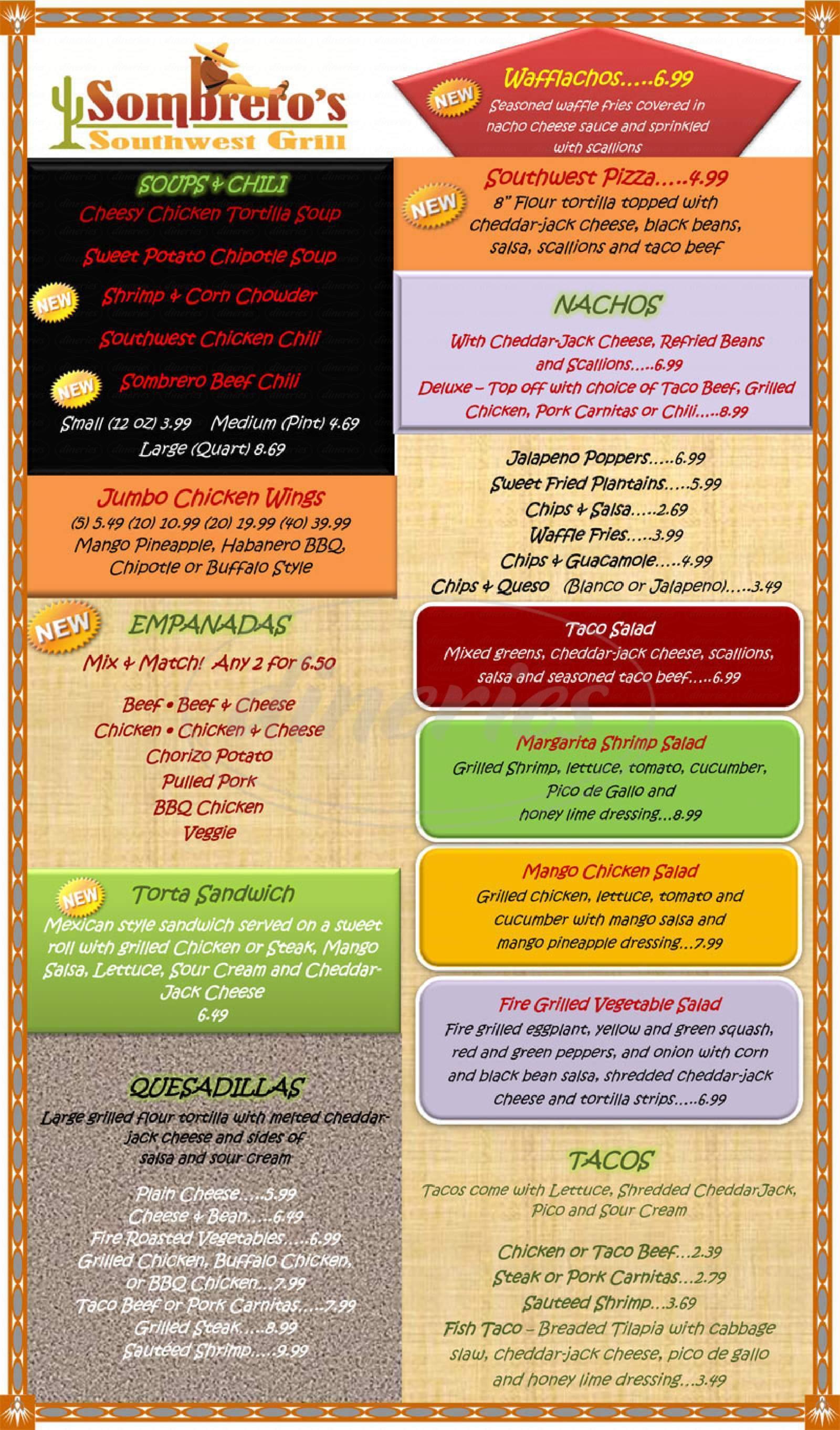 menu for Sombrero's