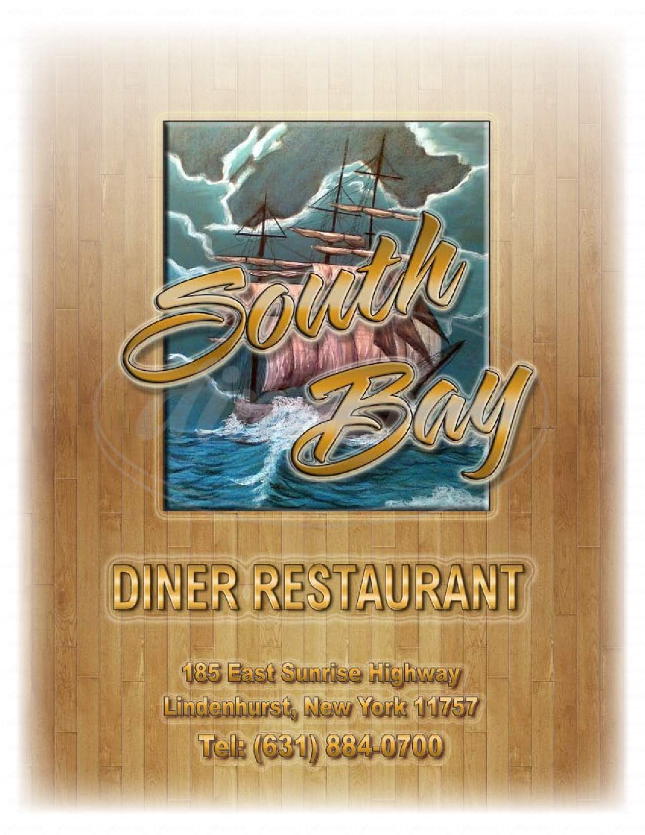 menu for South Bay Diner