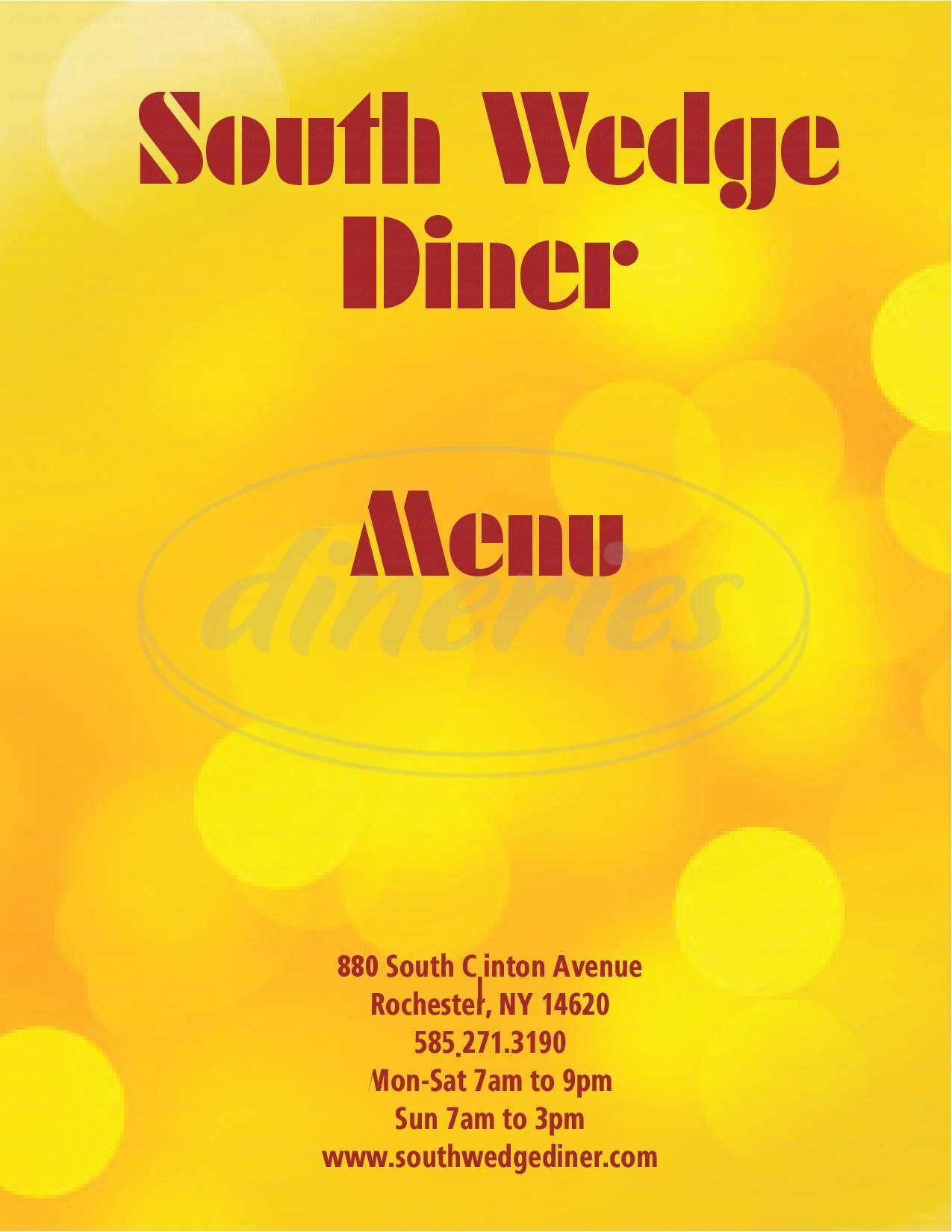 menu for South Wedge Diner