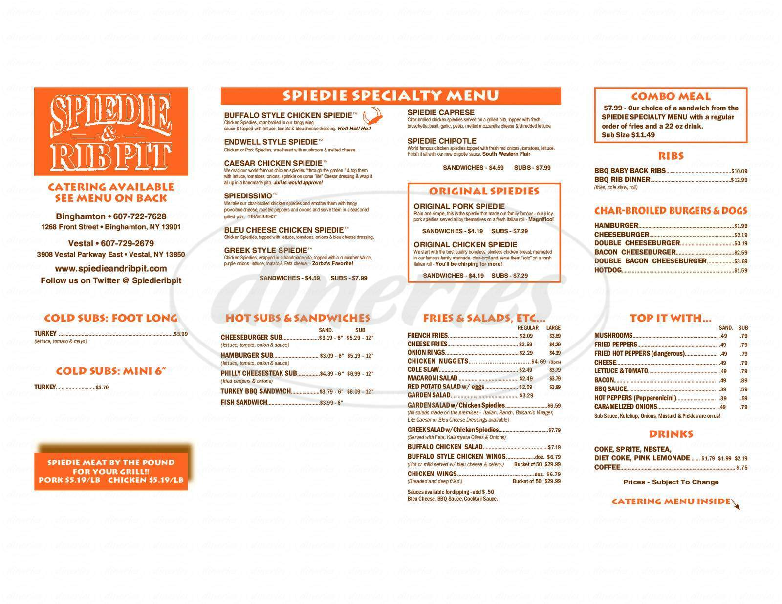 menu for Spiedie & Rib Pit