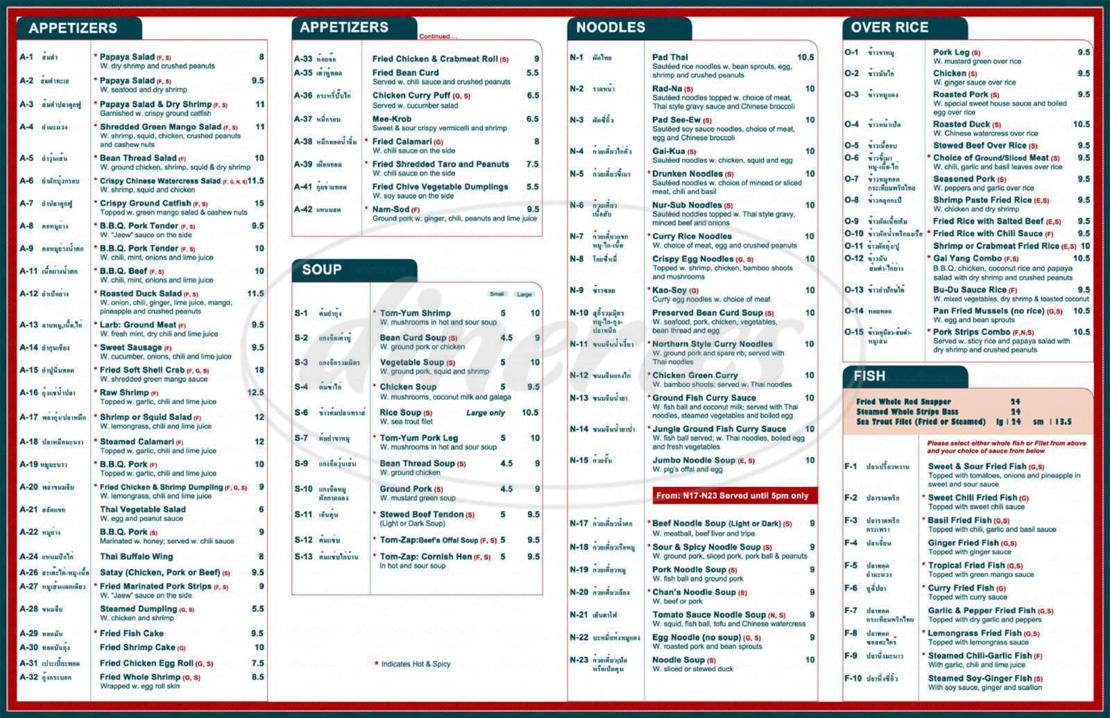menu for SriPraPhai Thai Restaurant