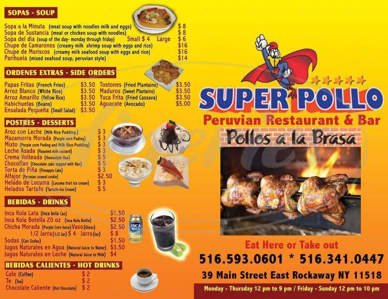 menu for Super Pollo