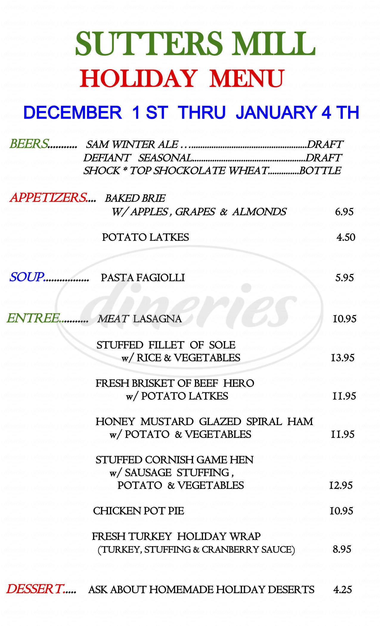 menu for Sutter's Mill of Suffern Inc