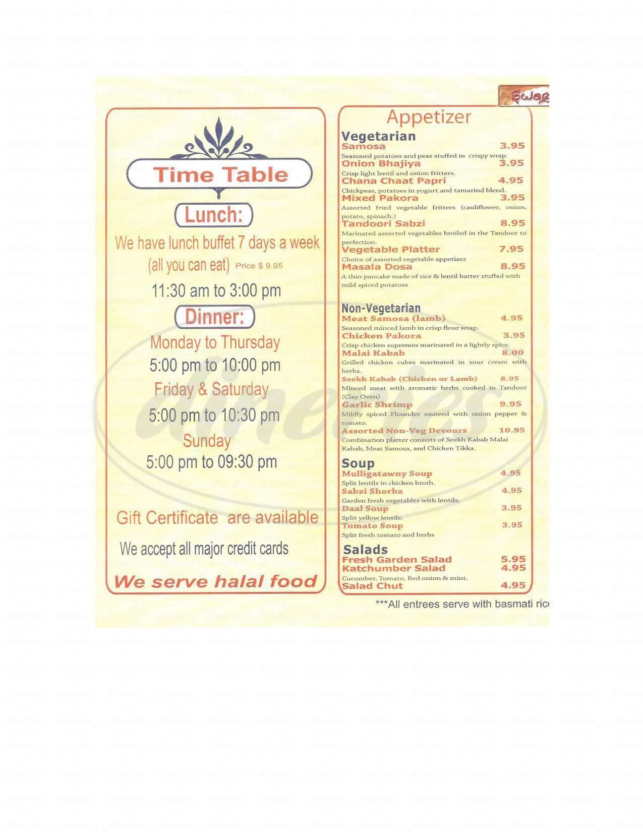 menu for Swagat Halal Indian Cuisine