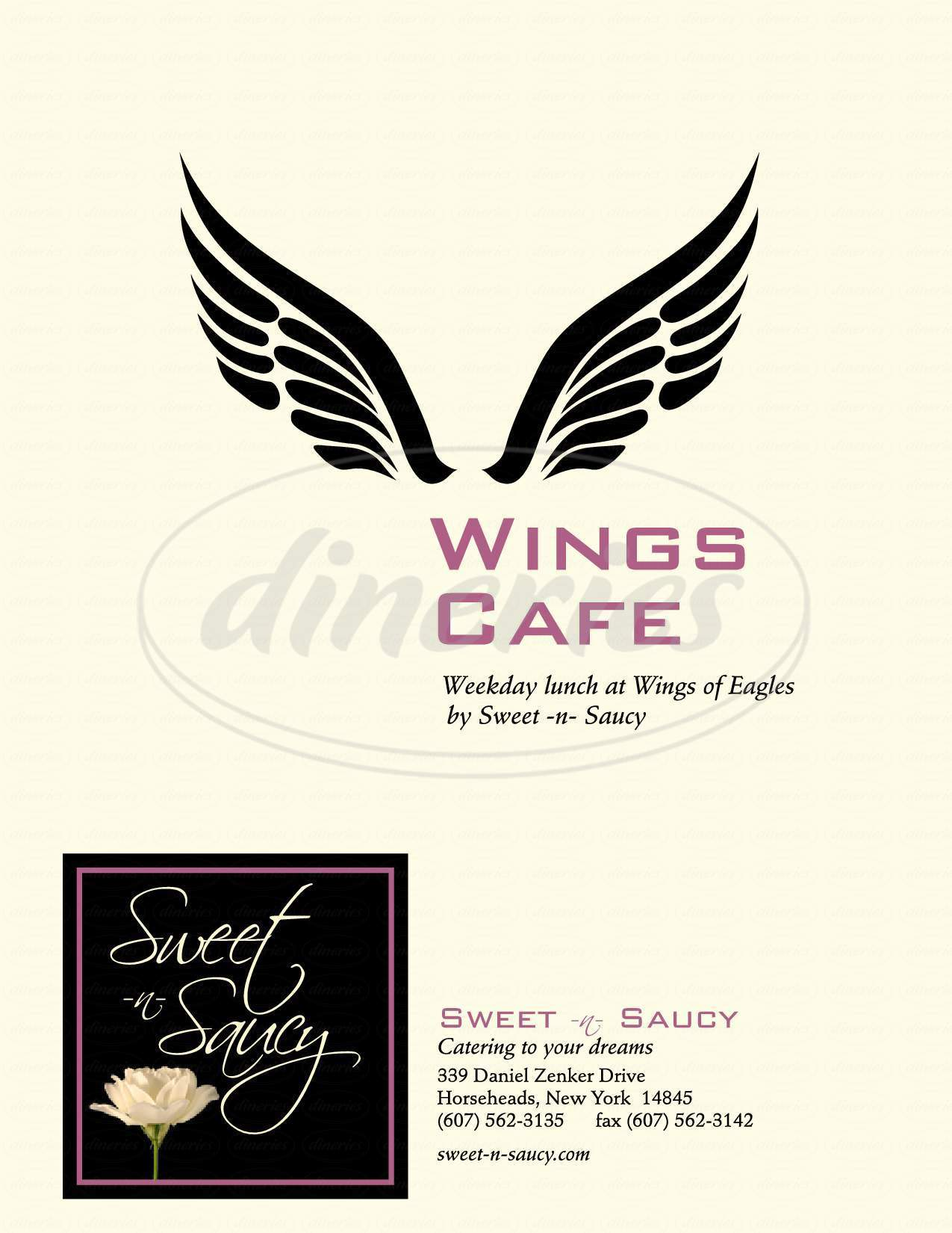menu for Sweet-N-Saucy Coffee Shop