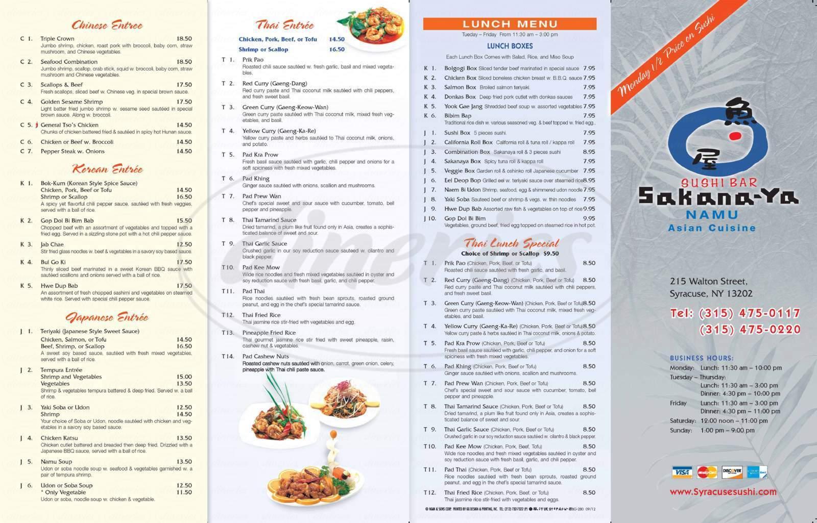 menu for Namu