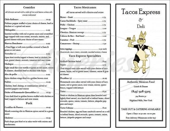 menu for Tacos Express & Deli