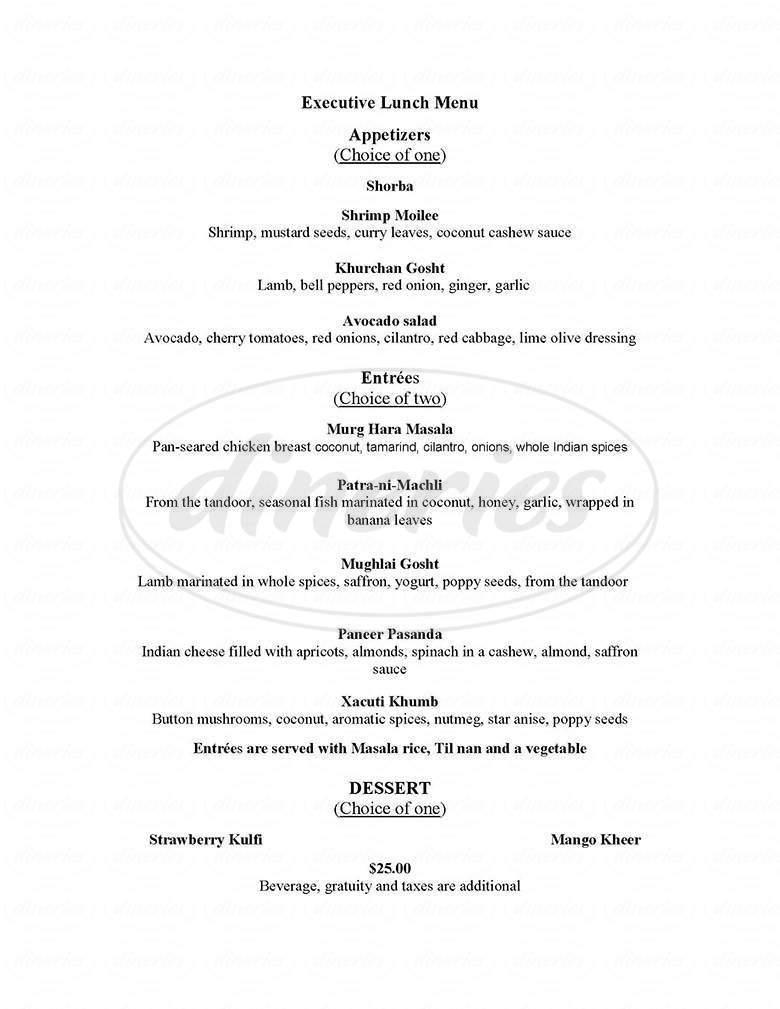 menu for Tamarind