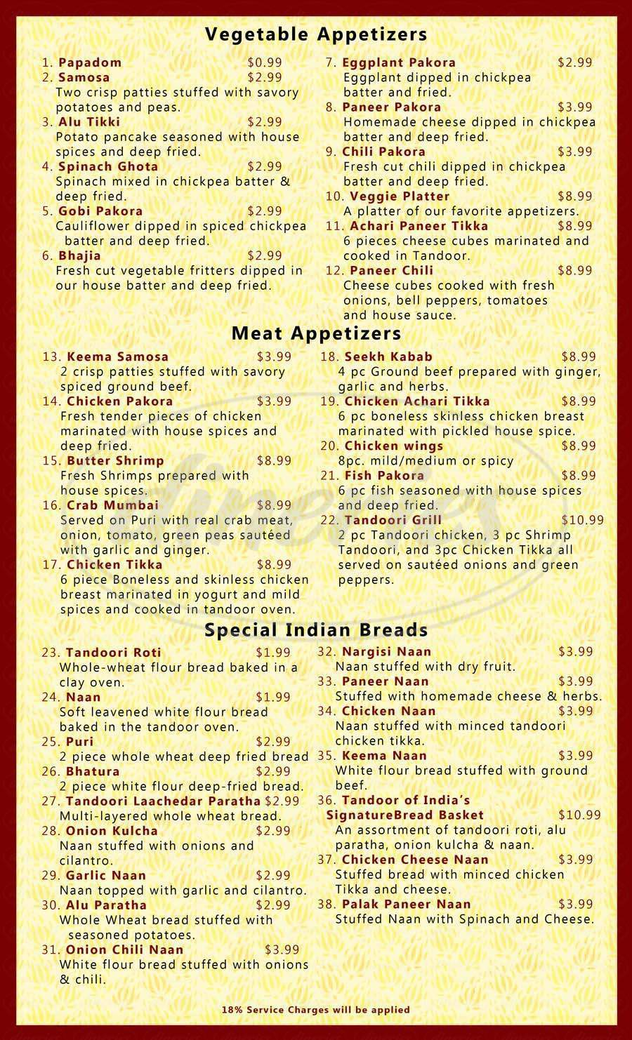 menu for Tandoor of India
