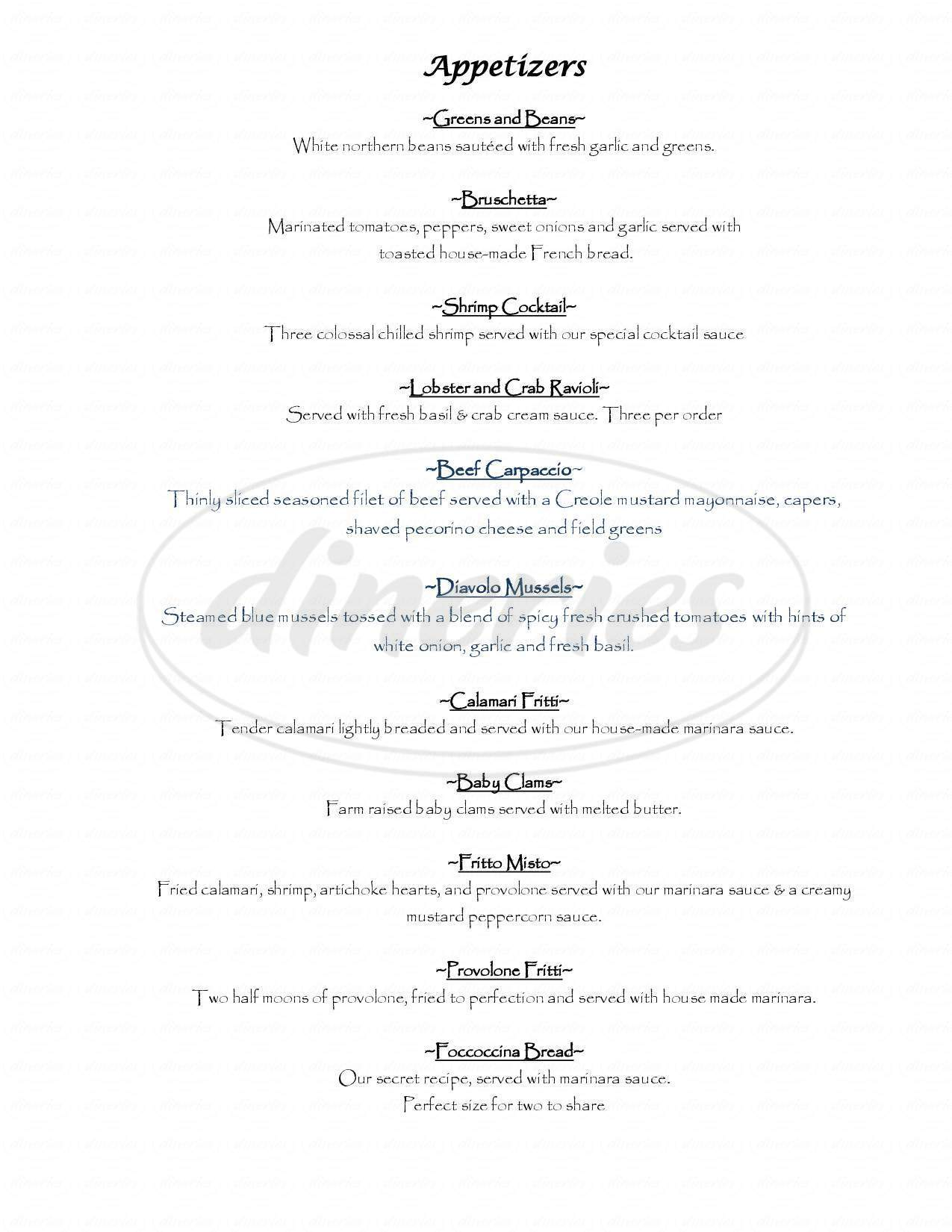 menu for Tanino Ristorante Italiano