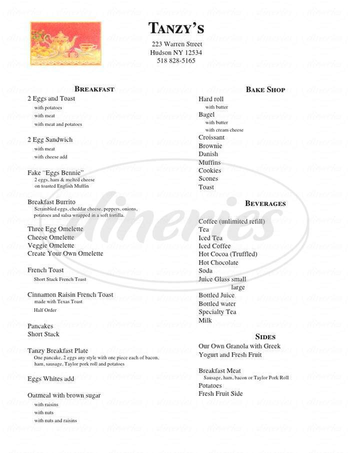 menu for Tanzy's