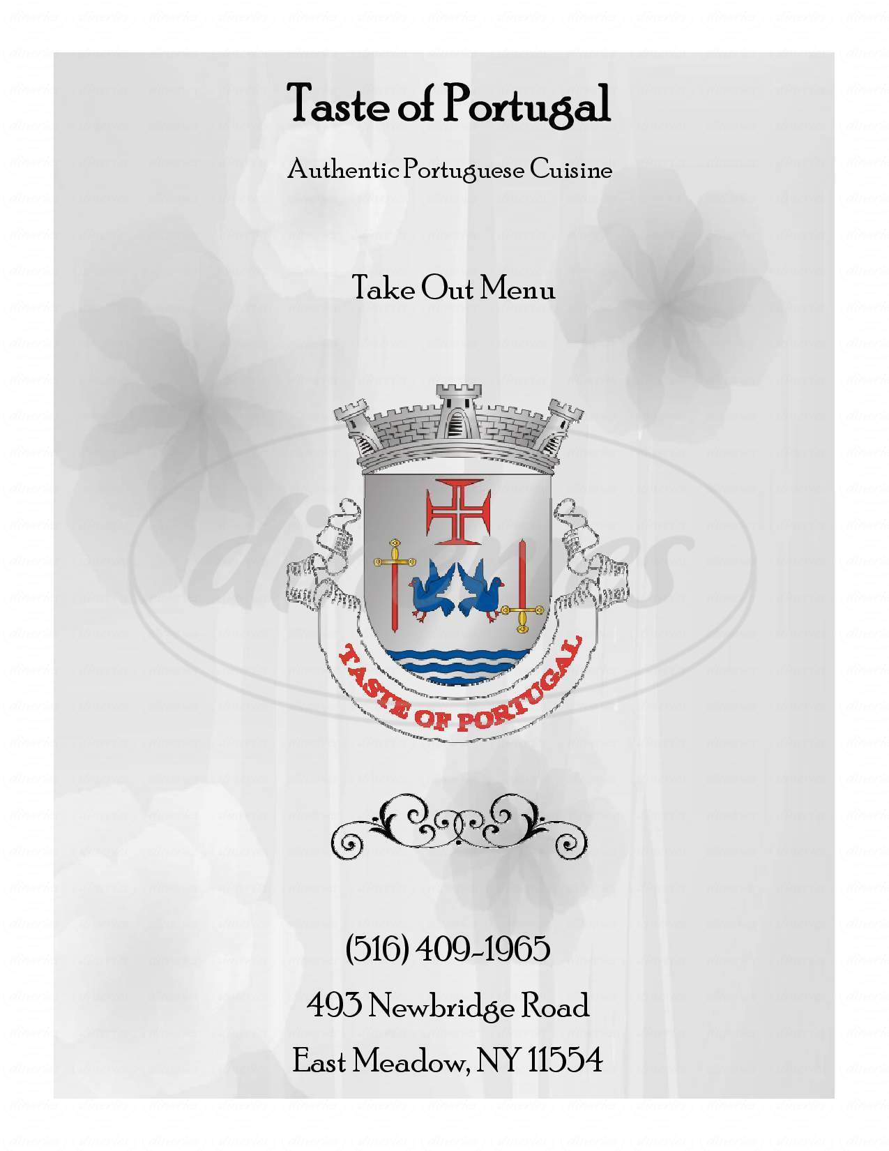 menu for Taste of Portugal Restaurant