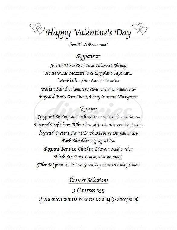 menu for Tate's Restaurant