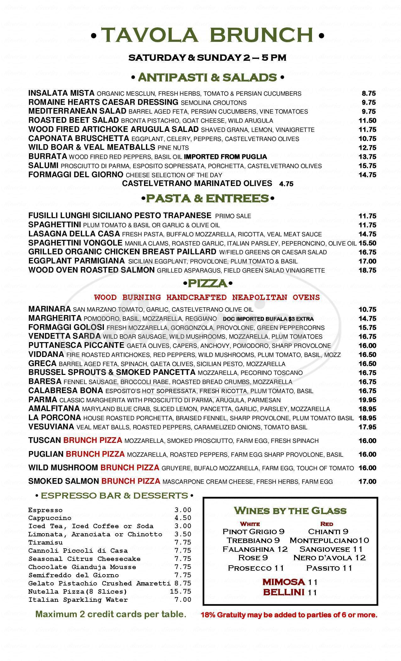 menu for Tavola