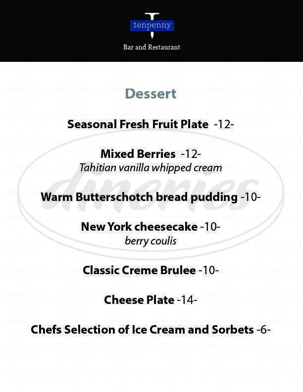 menu for Tenpenny