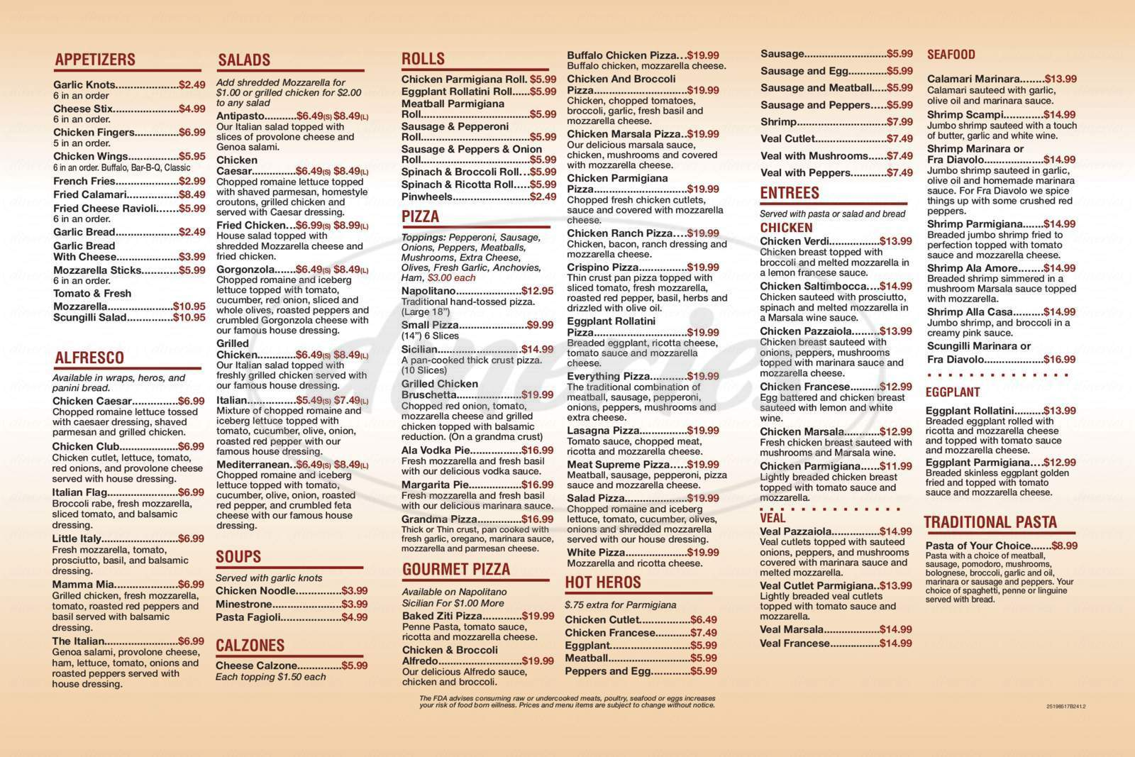 menu for Thats Amore Pizza