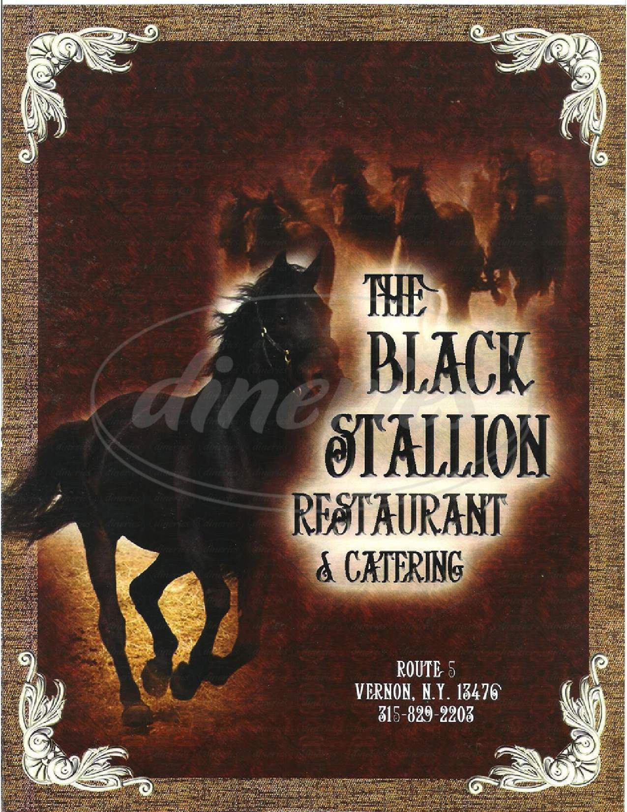 menu for The Black Stallion Restaurant