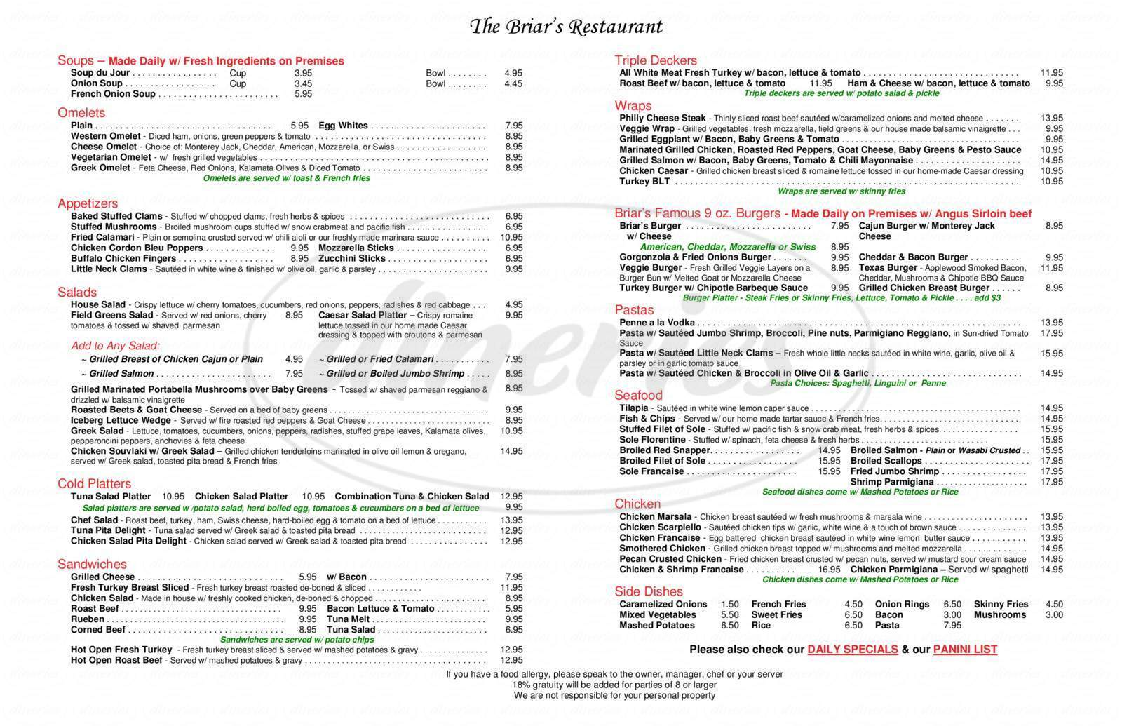 menu for Briar's