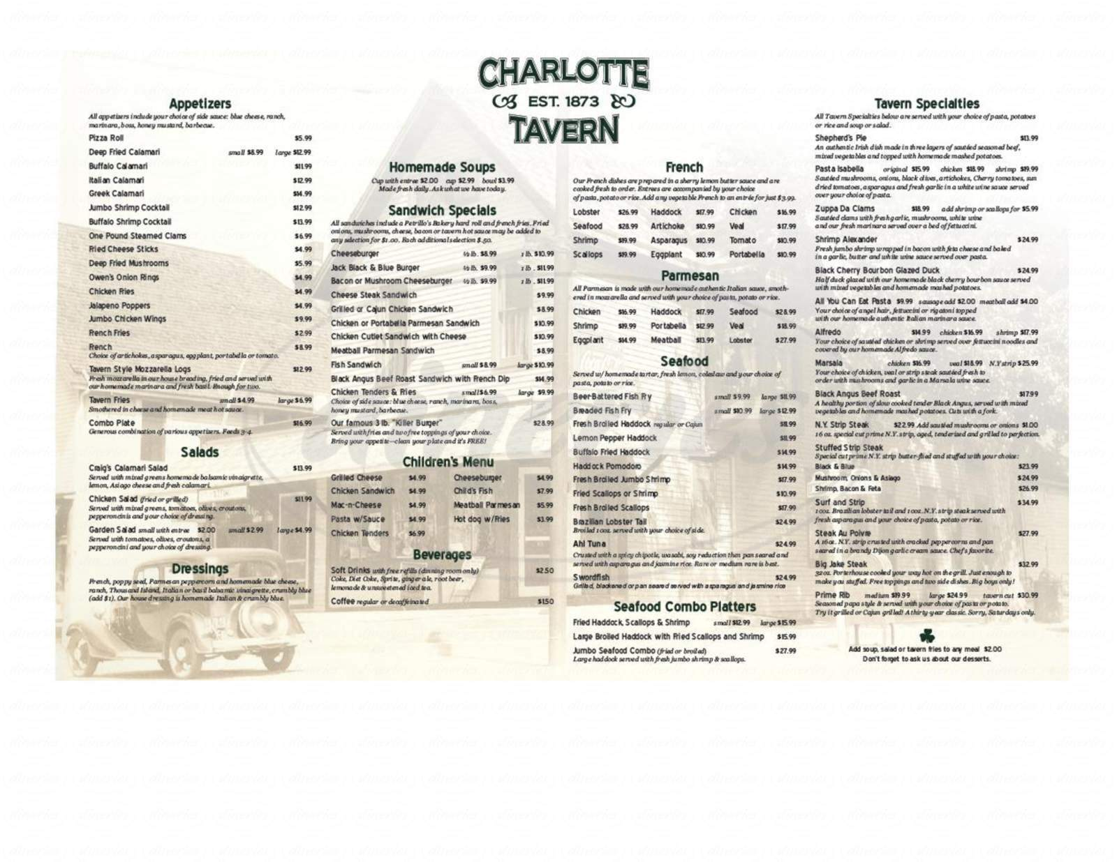 menu for Charlotte Tavern