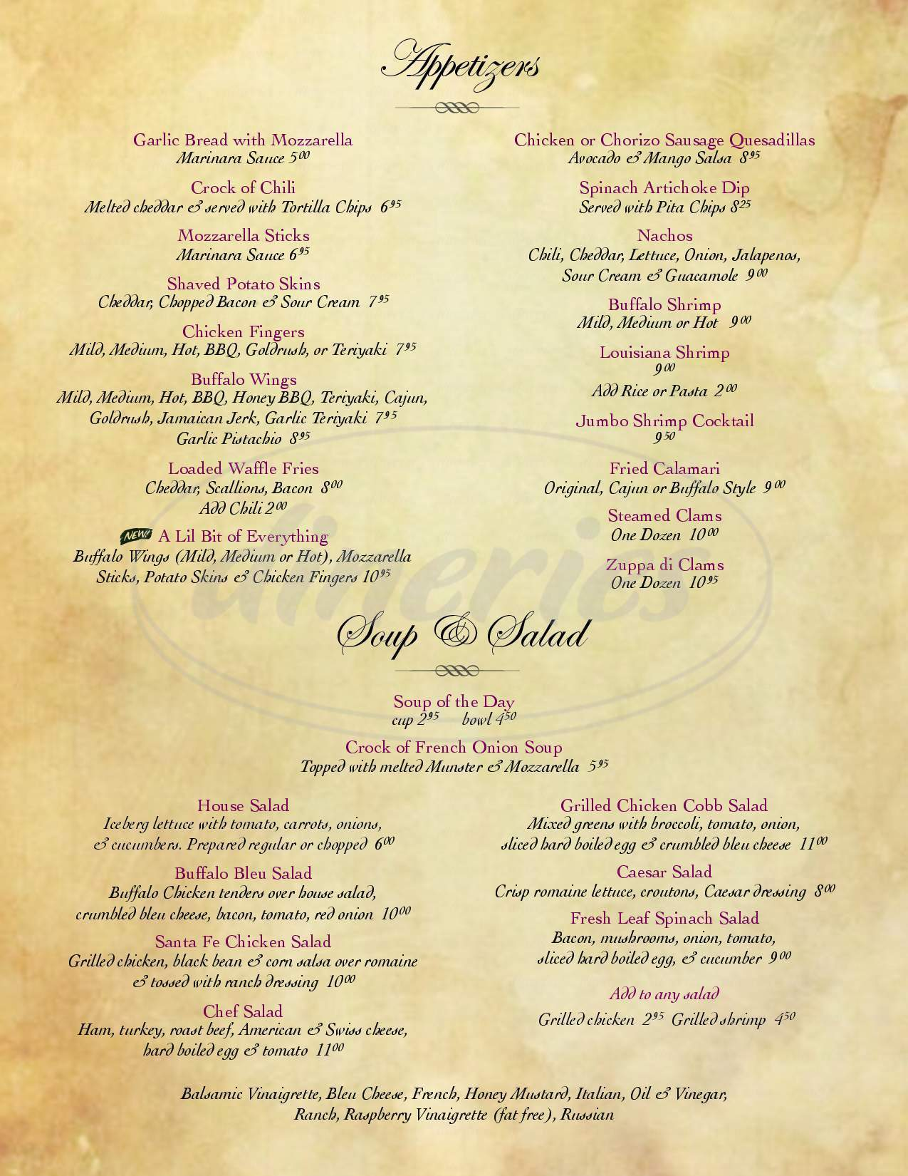 menu for Clarksville Inn