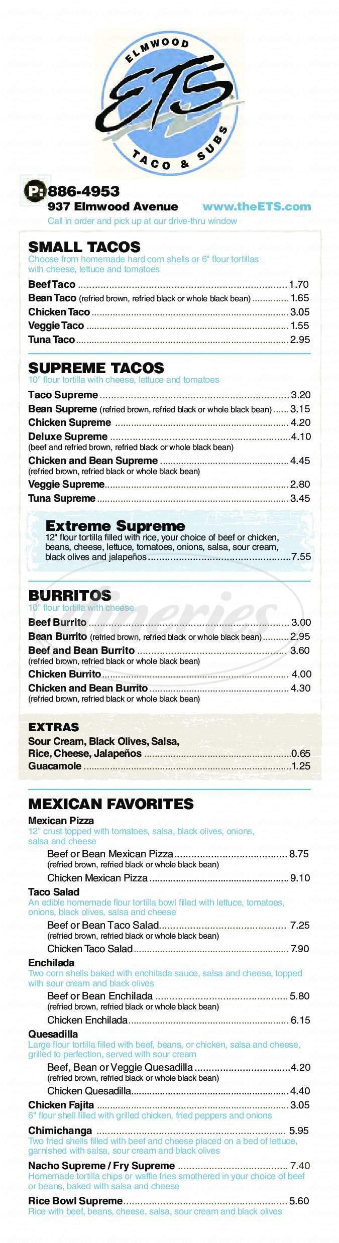 menu for Elmwood Taco & Subs