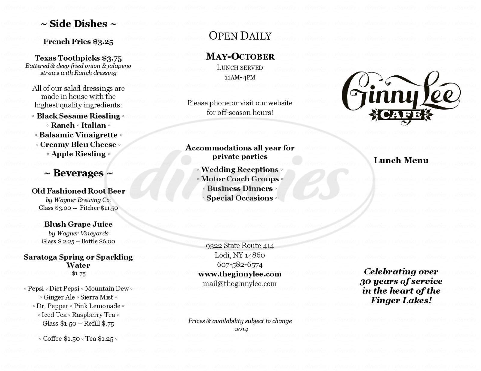 menu for Ginny Lee Cafe