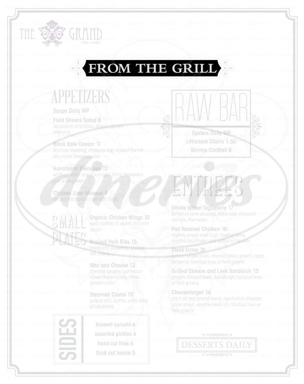 menu for The Grand Bar and Grill
