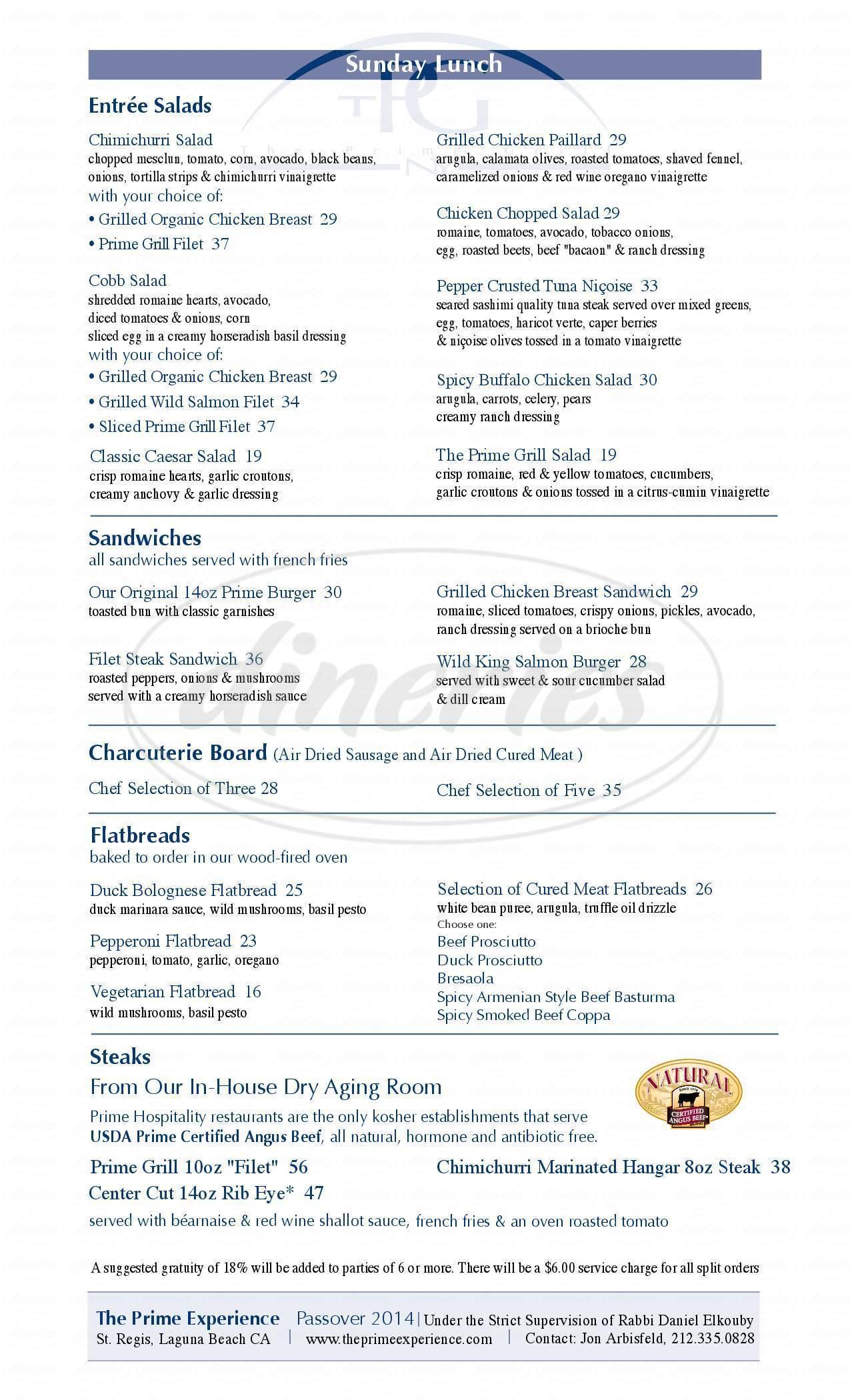 menu for Prime Grill