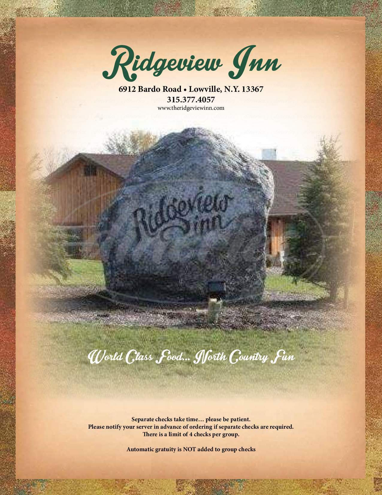 menu for The Ridgeview Inn