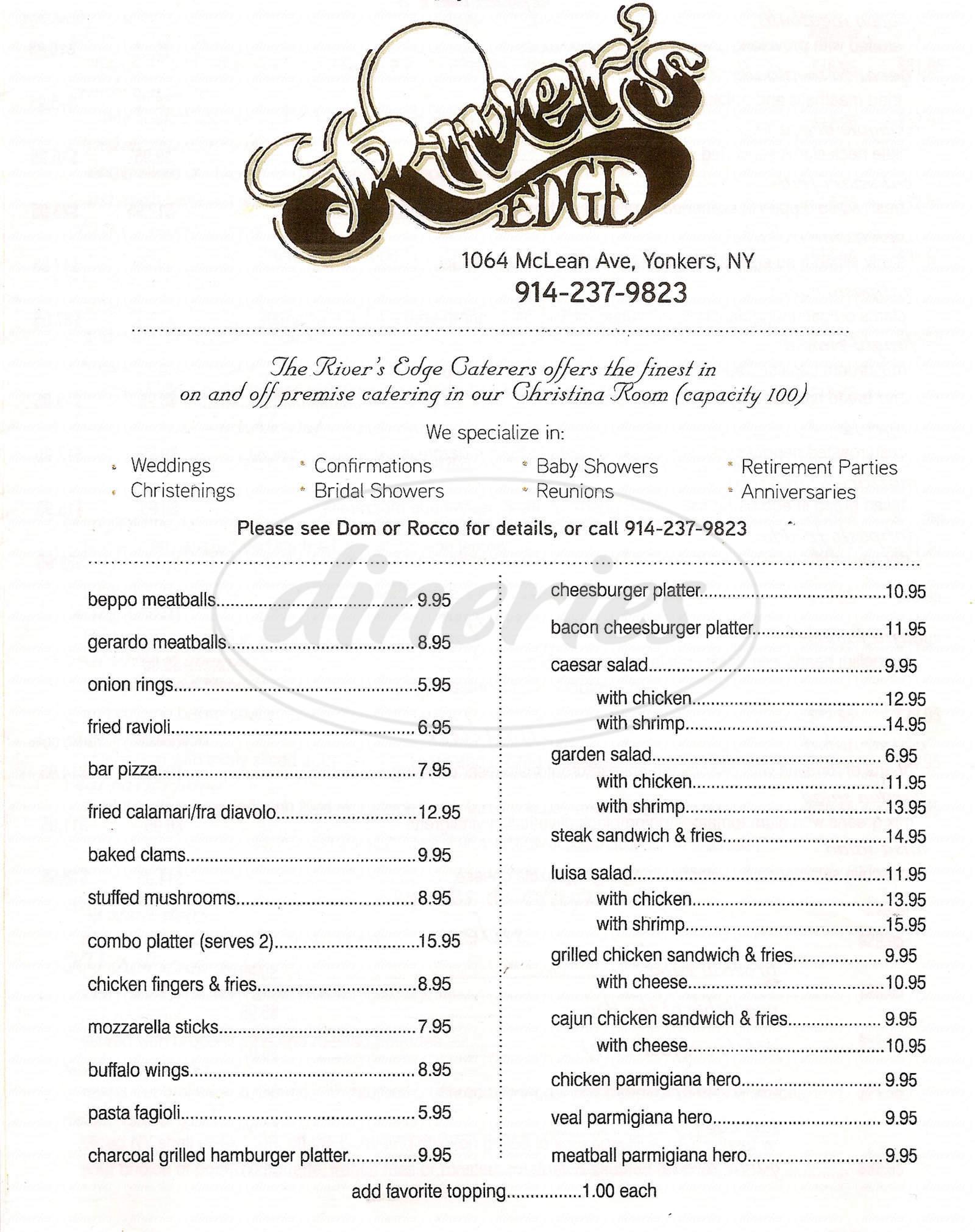 menu for River's Edge