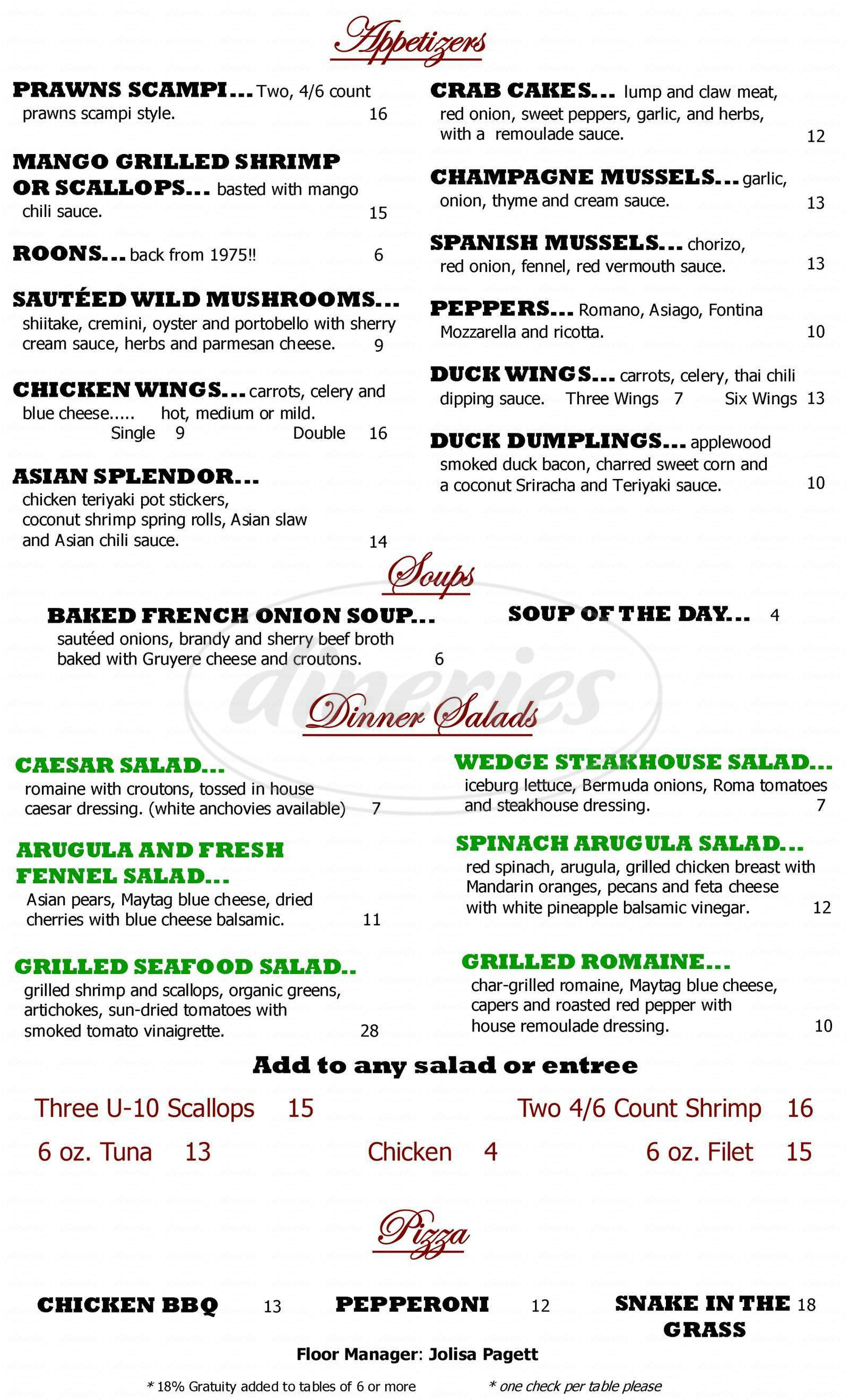 menu for The Silver Fox Steakhouse