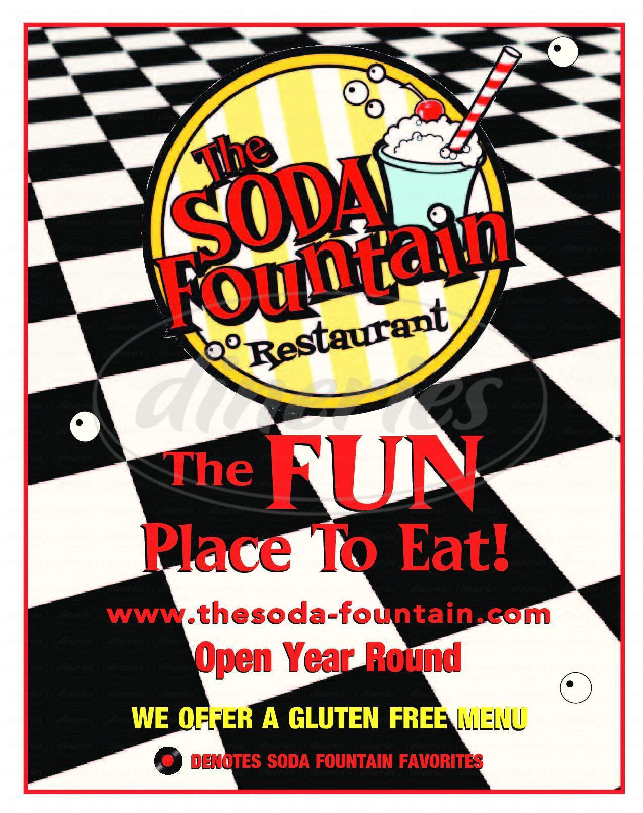menu for The Soda Fountain Restaurant