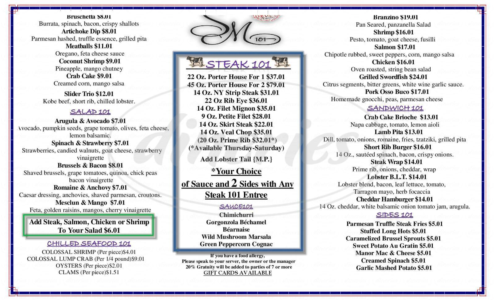 menu for The Stone Manor 101